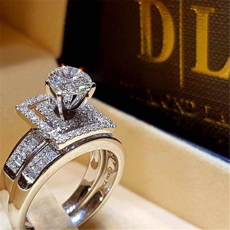 Brand Cute Female Crystal White Round Ring Set Luxury Silver Color Engagement Ring Vintage Bridal Wedding Rings For Women