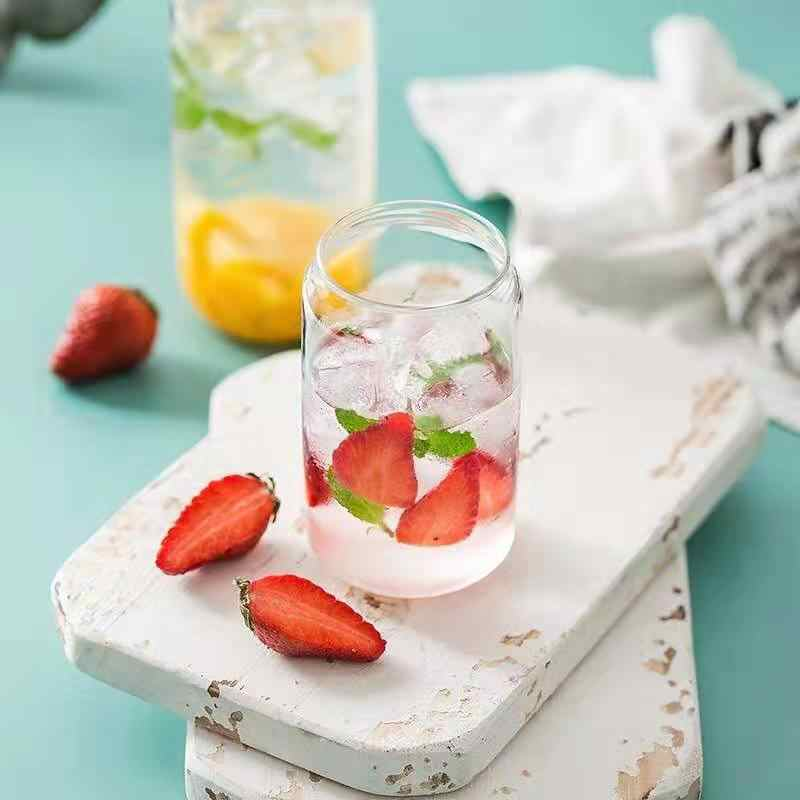 380 ML/500 ML Jar Form Japanischen Transparent Glas Wasser Tasse Kurze Hohe Borosilikat Bier Saft Tasse Wärme- beständig Kaffee Milch Becher