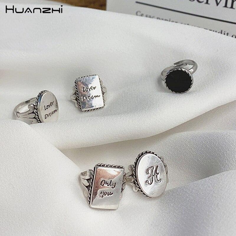 HUANZHI 2020 новые винтажные прямоугольные монеты геометрические буквы простой Тибетский серебристый металлический кольца для мужчин и женщин ювелирные изделия|Кольца|   | АлиЭкспресс