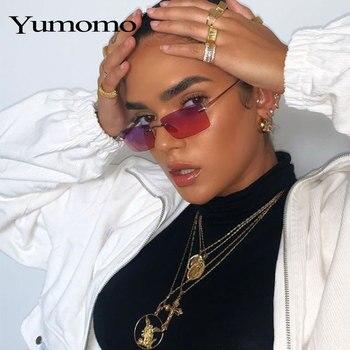 Small Rectangle Ladies Sunglasses Women Rimless Square Luxury Brand Polarized Sun Glasses UV400 Men Retro Eyewear Gradient