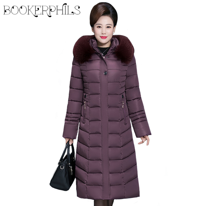 2019 Winter Women s Jacket Middle aged Long Cotton Thicken Hooded Fur Collar Cotton Parkas Women