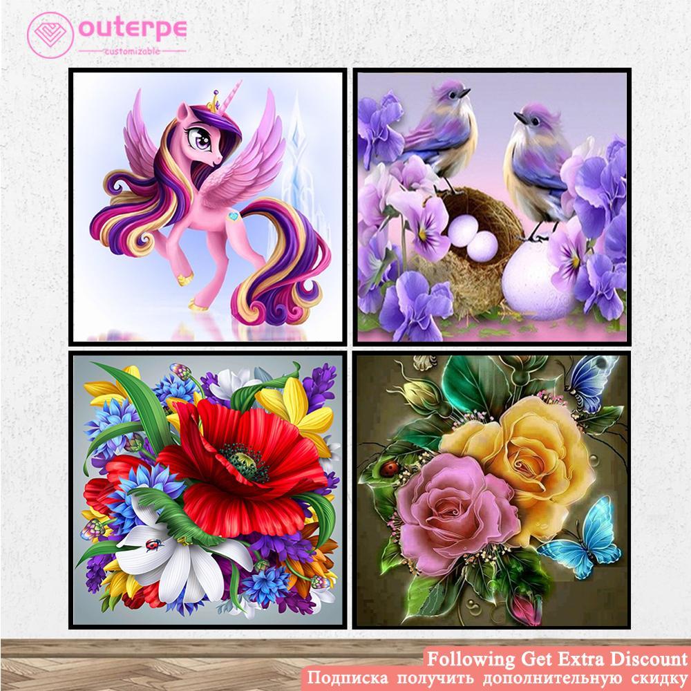 Full Drill Unicorn Rainbow Flower 5D Diamond Painting Cross Stitch Kit d