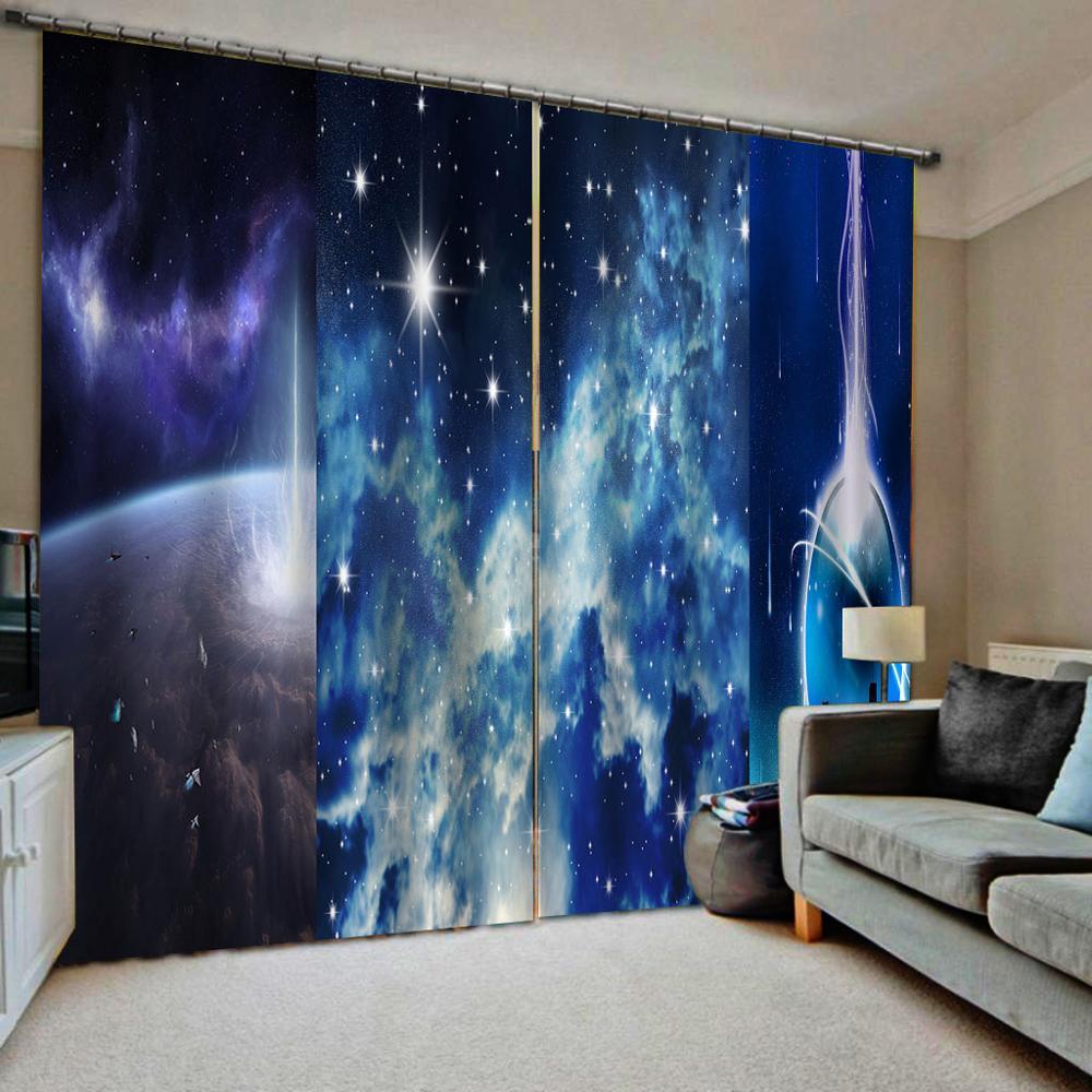 Custom any size High quality custom 3d curtain fabric  blue sky star curtains blackout