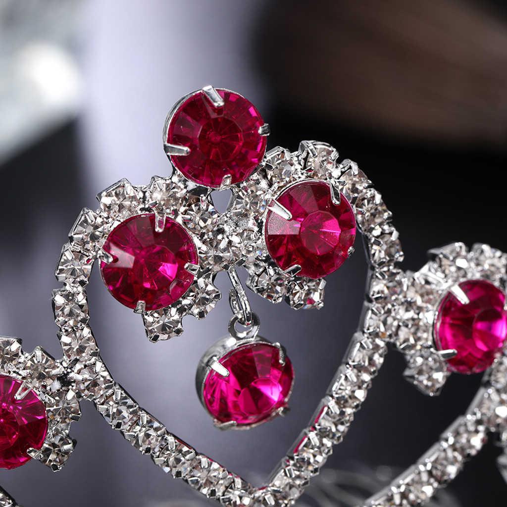 Venta caliente bebé Tiaras accesorios para el cabello corona hueca diamante amor horquillas pinzas para el cabello insertar peine diadema señoras joyería 917