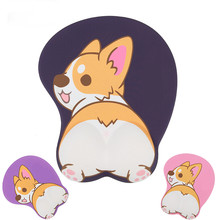1pcs Cute 3D Corgi Butt Silicone Soft Mouse Pad Mat Wrist Rest Animal Dog Mousepad Desk Decor Cosplay Prop for Women Men(China)