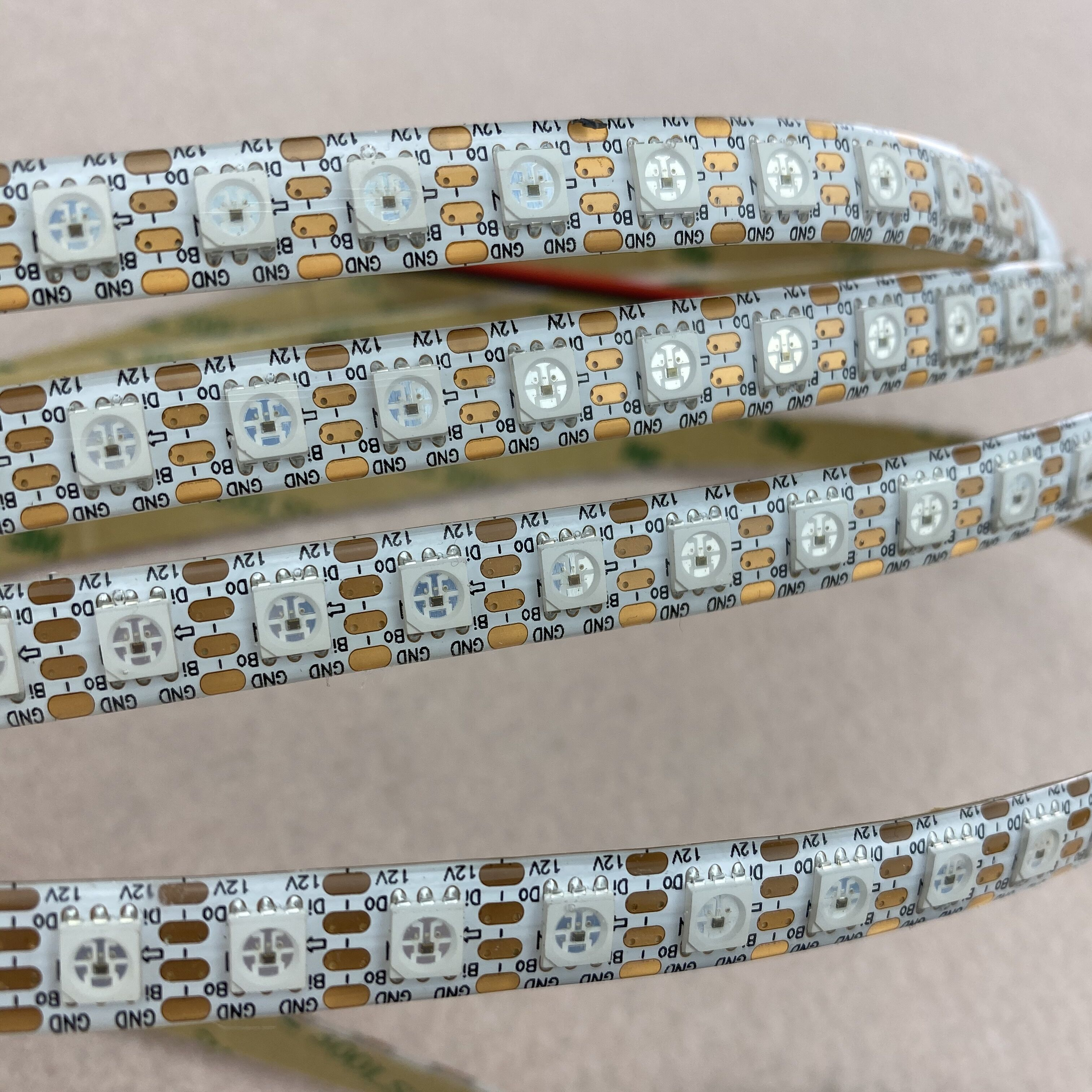 96leds/m SK6813HV-09-6P DC12V Addressable Full Color RGB 5050 LED Strip;4m;waterproof In Silicon Coating;IP65,WHITE PCB