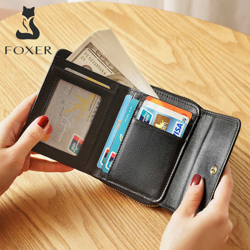 FOXER Women Coin Purse Genuine Leather Card Holder High Quality Mini Wallets Female Short Wallet Lady Wallet Woman Small Purse