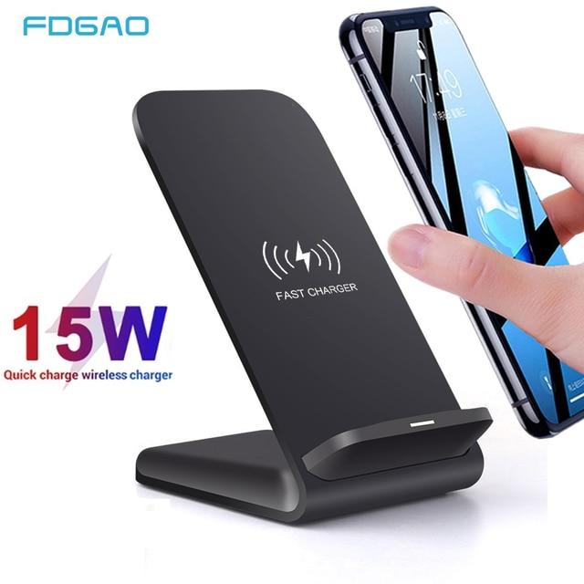 Fdgao carregador sem fio qi para iphone, carregador rápido 15w para iphone 11, pro, xs max, xr, x, 8, 10w suporte de carregamento para samsung s10 s20 note 9 10