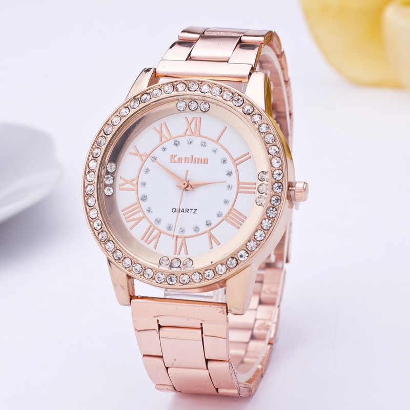 นาฬิกาสแตนเลสสตีลประณีตนาฬิกาผู้หญิงRhinestoneหรูหราสบายๆนาฬิกาควอตซ์