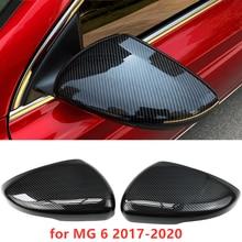 2Pcs Für MG MG6 17 20 Auto Rückspiegel Emblem Aufkleber Dekoration ABS Faser Muster Rückspiegel Protector abdeckung Auto Styling