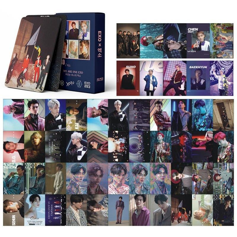 54 шт./компл. 2020 новые южнокорейские группы Kpop Exo LOMO карточка новый альбом Фотокарточка HD Альбом Плакат K-POP фанаты подарок