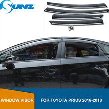 Window Air Vent Visor For Toyota Prius 2016 2017 2018 Window Visor Vent Shade Sun Rain Deflector Guards SUNZ