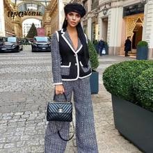 High-quality Blazer Tweed Patchwork Fashion Office Blazer Women's Sexy Lapel Lon