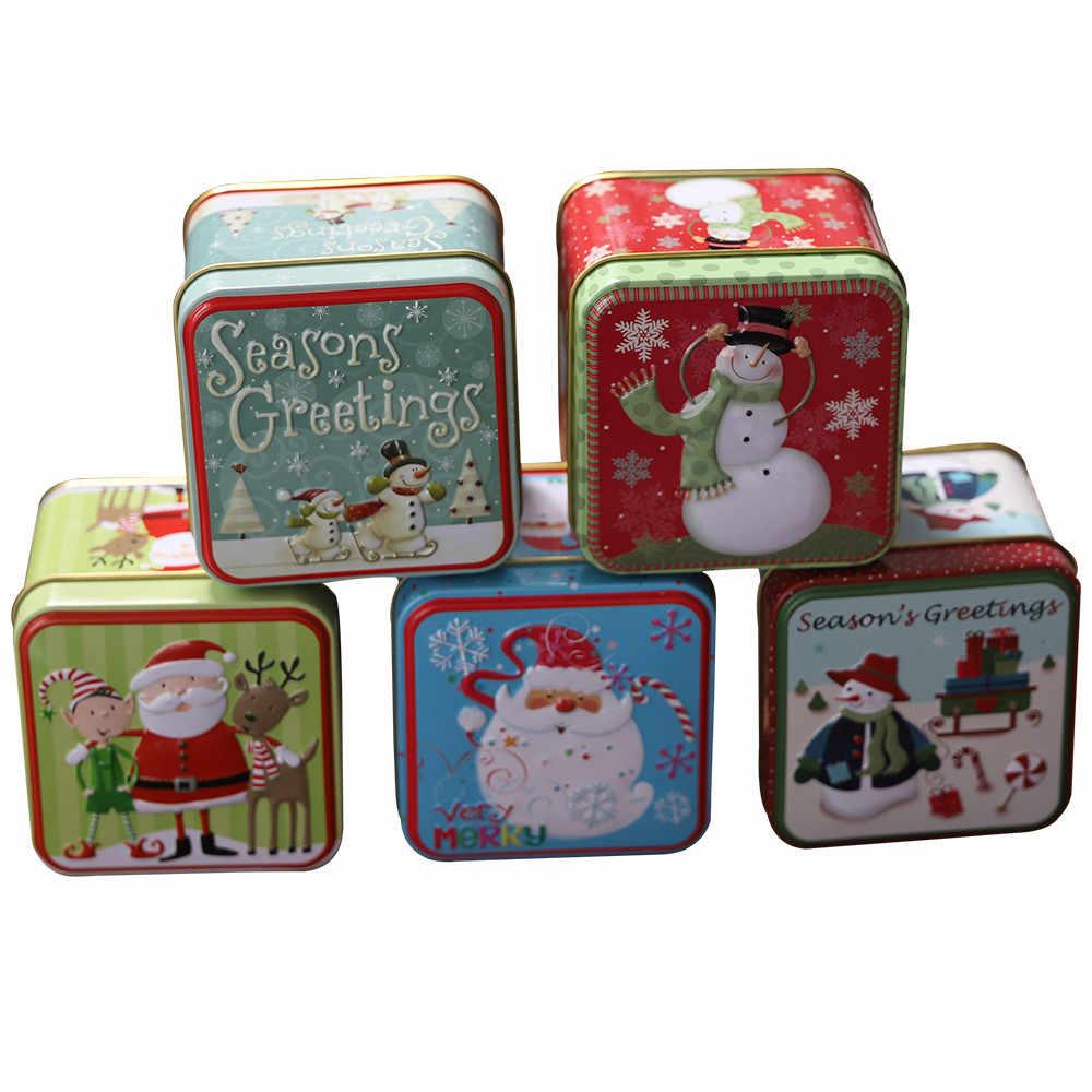 Kẹo Giáng Sinh Tặng Gói Hộp Sắt Tiệc Cưới Kẹo Trà Nướng Bánh Quy Bánh Quy Ốp Lưng Tặng Hộp Đựng Giáng Sinh Trang Trí