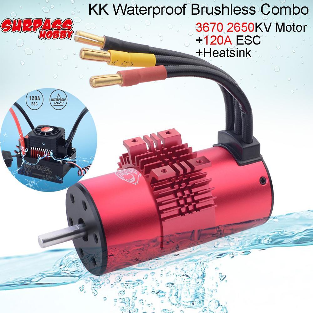 SURPASS HOBBY KK Waterproof 3670 2050KV 2650KV Motor &120A ESC with Heatsink Combo for 1/8 1/10 HSP HPI RC Buggy Truck Car Toys