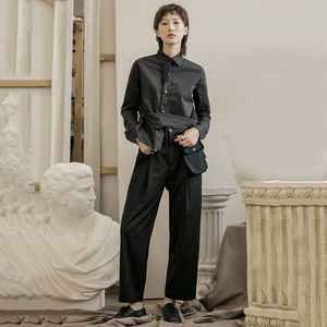 Image 5 - [EAM] High Waist Black Pocket Suit Long Trousers New Loose Fit Pants Women Fashion Tide All match Spring Autumn 2020 1B209