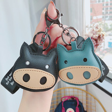 sitaicery 2pcs set pig cute keychain lovers pendant bag charm drive safe key chain for women jewelry female car key ring trinket Cartoon Large Nostrils Pig Keychains Cute Animal Leather Keychain for Women Kids Charm Phone Bags Key Chain Car Key Ring Jewelry