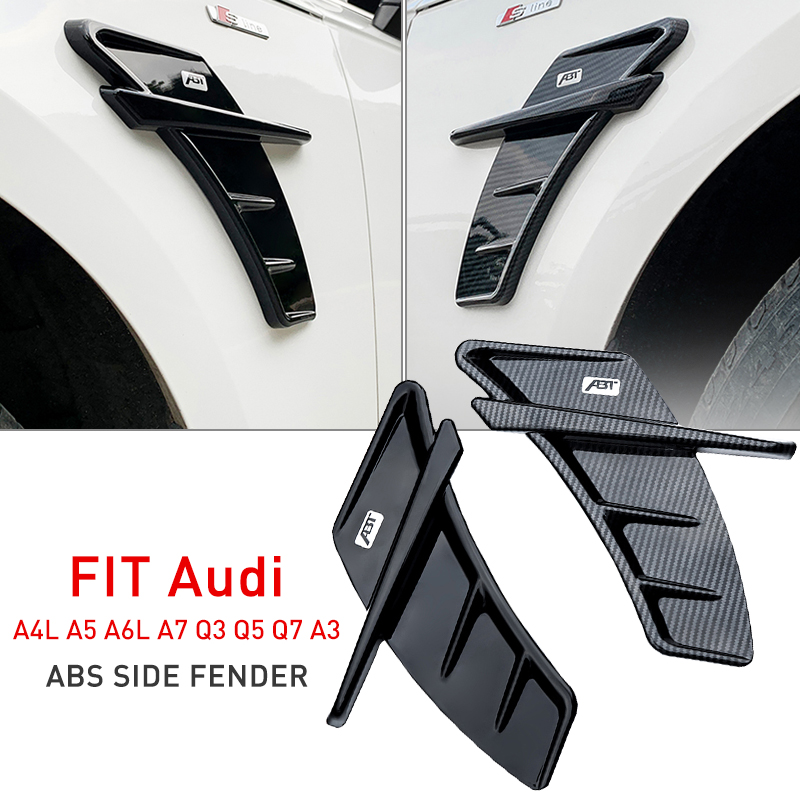CAR sticker Universal FOR audi a3 8v a4 b8 b6 q5 a5 8v a6 c6 c5 q7 Side Fender vents ABT Trim ABS car accessories 2Pcs Set