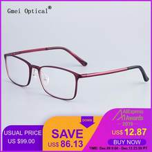Fashion Full-Rim Eyeglasses Frame Brand Designer Business Men Frame Hydronalium Glasses With Spring Hinge On Legs GF521(China)