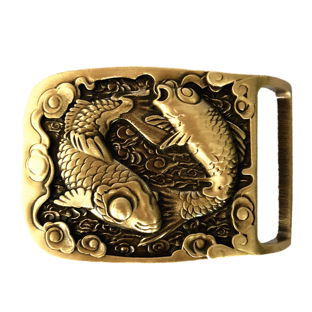 Pisces Two-Fishes Pure Brass Copper Mens Belt Buckle Cowboy Vintage Antique