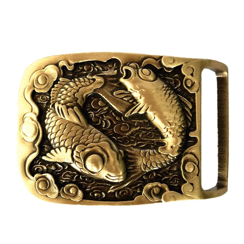 Pisces Two-Fishes Pure Brass Copper Mens Belt Buckle Cowboy Vintage Antique