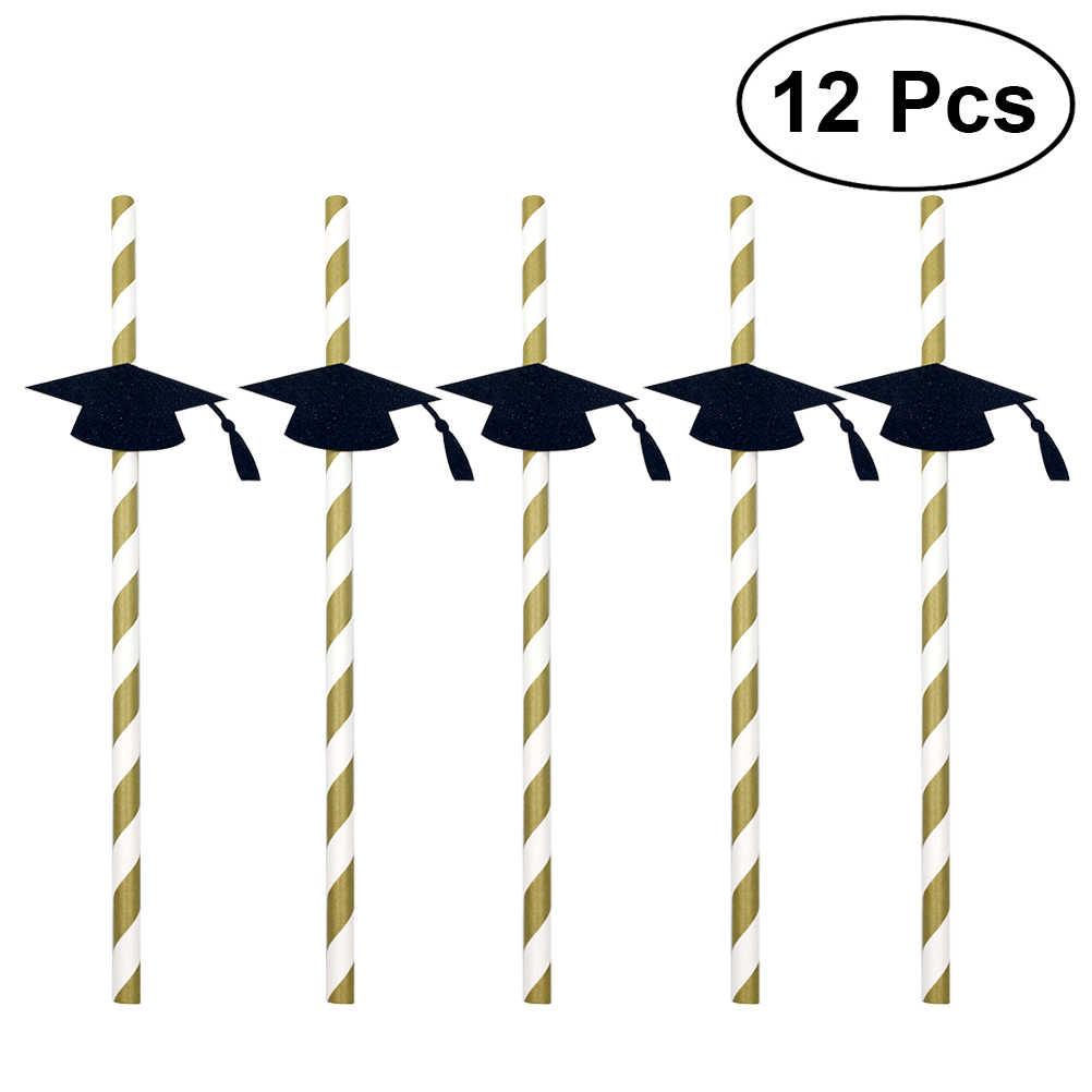 12pcs Creative Trencher Cap ยืดหยุ่นหลอดดูดดื่ม Bendable ตกแต่งหลอดดูดทิ้งการสำเร็จการศึกษาฉลองปาร์ตี้