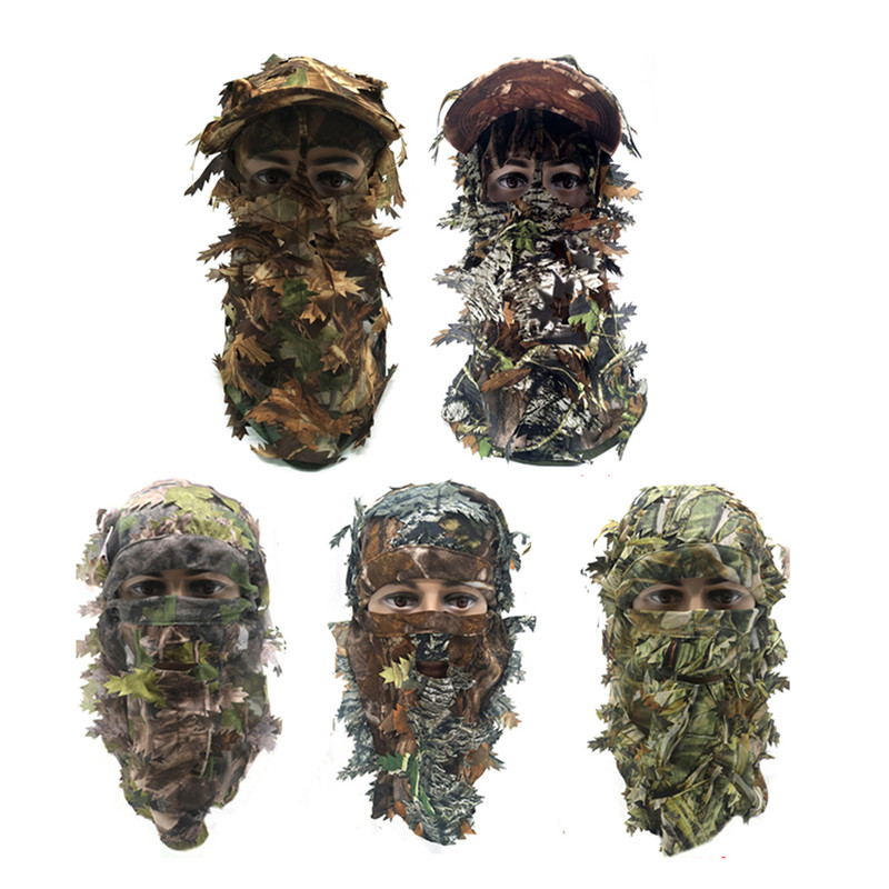 Face Mask Camouflage 3D Leaf Stereo Turkey Hunting Mask Hat Camo Face Mask Balaclava Woodland Full Face Mask