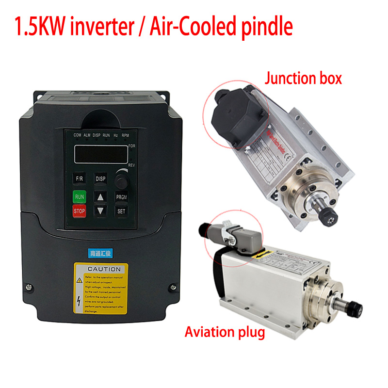Air-cooled cnc square <font><b>spindle</b></font> <font><b>motor</b></font> kit air cooling 1500w 800w <font><b>spindle</b></font> 1.5kw vfd frequency inverter <font><b>110V</b></font> 220V for cnc engraver image