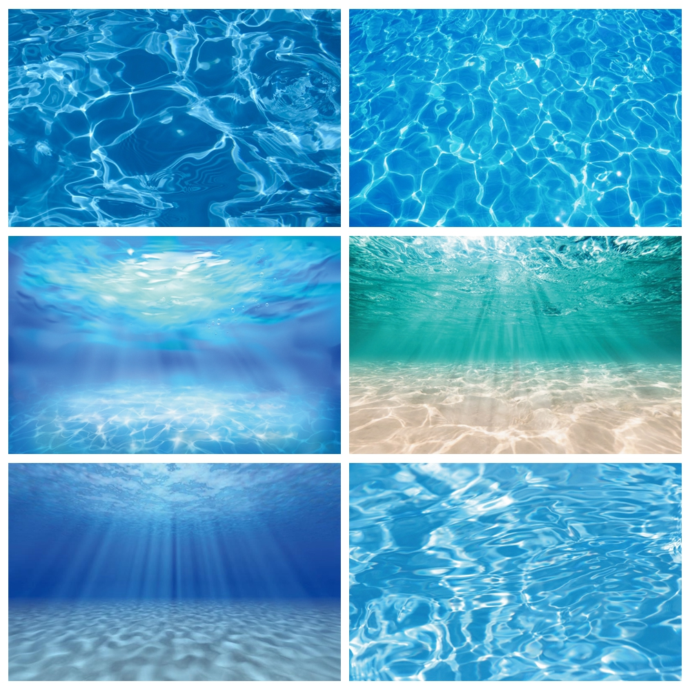 Laeacco Summer Party Backdrops Underwater World Seabed Swimming Pool Baby Birthday Photography Backgrounds For Photo Studio Prop