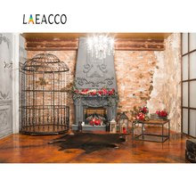 Laeacco Photo Backdrops Christmas Fireplace Cage Brick Wall Wreath Chandelier Inteior Backgrounds Photocall Studio