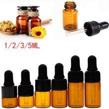 Garrafa de vidro âmbar recarregável, garrafa de vidro com óleo de árvore de chá, aromaterapia essencial, 1/2/3/5/ml recipiente de perfume, garrafa de pipette líquida para perfume