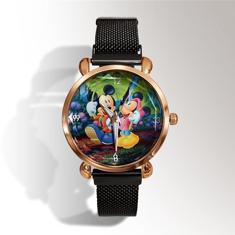 Luxury Brand Cartoon Mickey Mouse Women Watch Fashion Metal Mesh Magnet Strap Casual Ladies Dress Watch Bear Children's Watch
