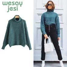 Green Turtleneck Women Sweater Autumn Winter Long Sleeve Jumper 2019 Knitted Loose Fashion Pullover Femme Chic Tops