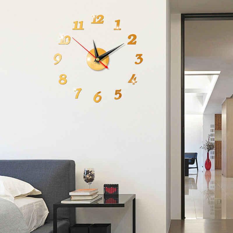 Nas nowoczesne duży zegar ścienny 3D lustro naklejki unikalne duże numer zegarek DIY wystrój