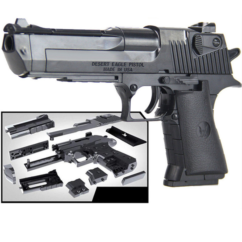 Military Police SWAT Weapon DIY Toy Gun Desert Eagle Model Building Blocks Assembly Brain Game Can Fire Bullets Kits Kids Toys
