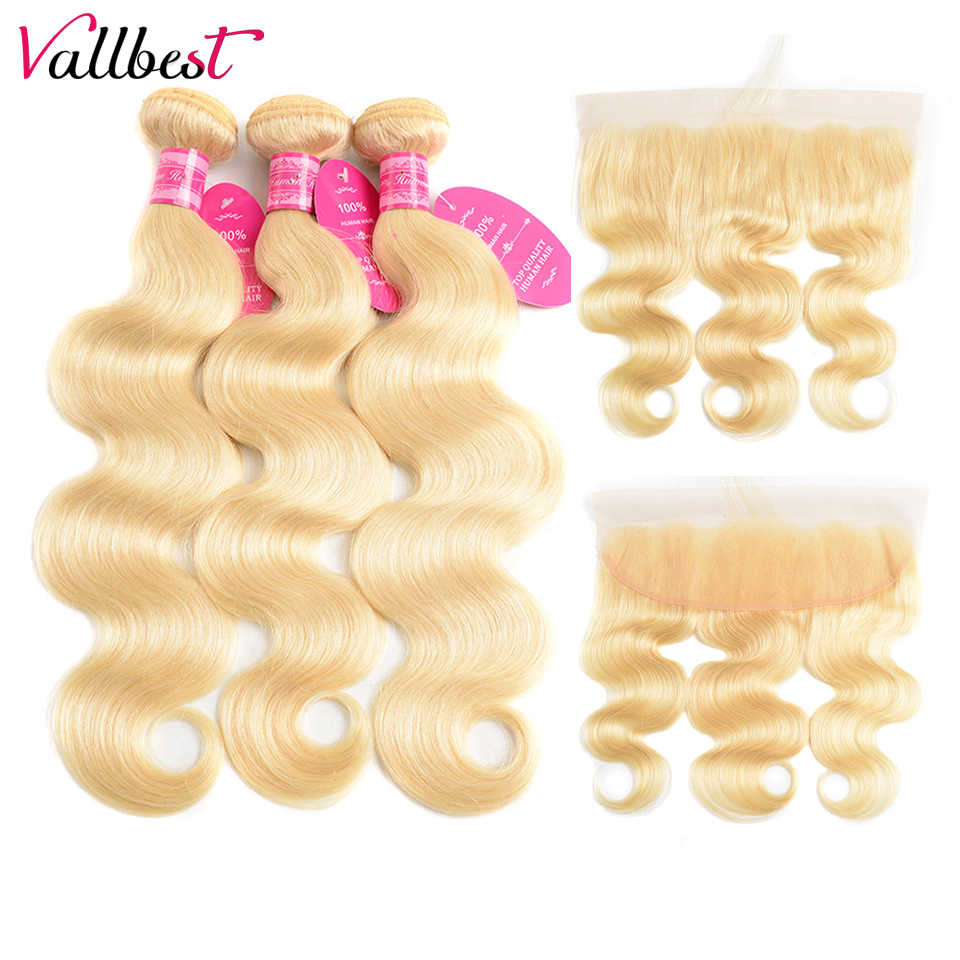Vallbest 613 Bundles With Frontal Brazilian Body Wave 3 Bundles With Closure Remy Human Hair Blonde Bundles With Frontal Closure