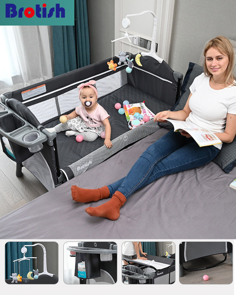 Brotish Crib Splicing Large Bed Removable Bb Multi-function Portable Folding Newborn Baby Bedside Bed Cradle Bed 7 Orders