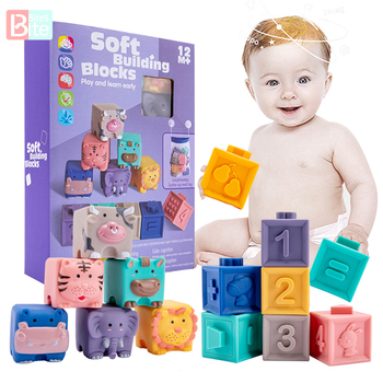 Montessori Toys 12PCS Baby Blocks Toy Soft Building Blocks 3D Touch Hand Balls Baby Massage Rubber Teethers Squeeze Toy Bath Toy baby grasp toy large soft rubber vinyl embossed building blocks 3d touch hand balls baby massage rubber teethers squeeze toys