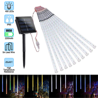 10Pack 30/50cm Solar Power Meteor Shower Rain Tubes , 24/40 Led DC7V LED String Lights For Christmas Wedding Decor Outdoor