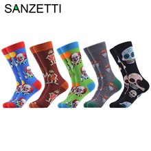 SANZETTI 5 Pairs/Lot New Style Mens Casual Combed Cotton Happy Crew Socks Clown Joke Pattern Party Gifts Creative Dress