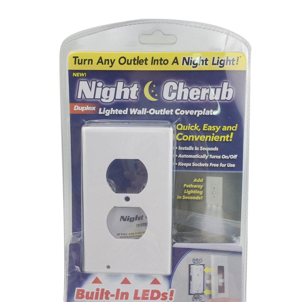 2 Plug Wall Outlet Cover Plate With Led Night Light Hallway Bedroom Bathroom Night Induction Light Socket Light Road Light