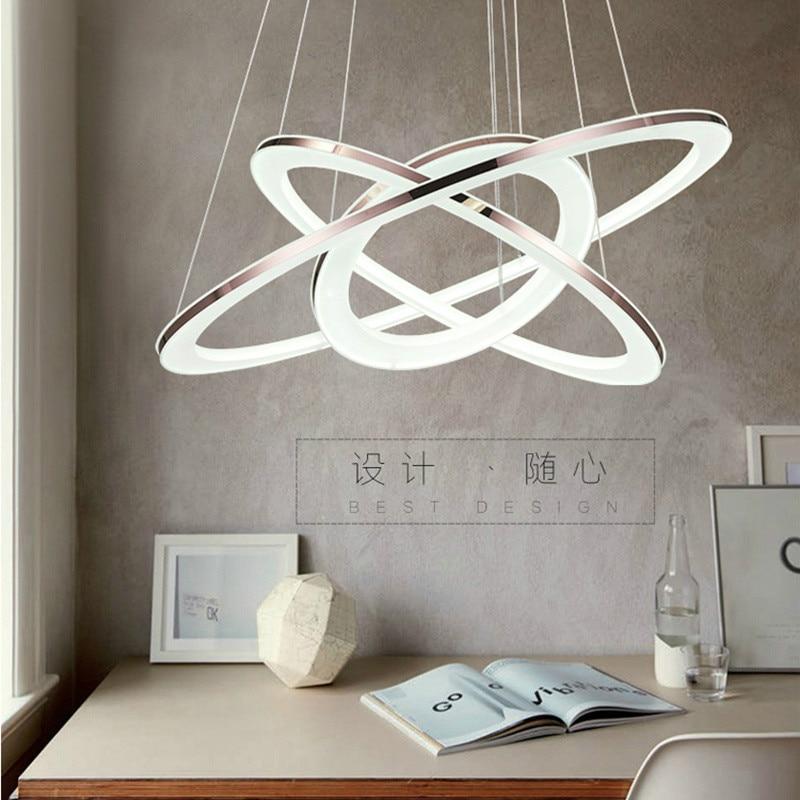 Dragon scence moderne Loft lustre LED cercle anneau pendentif lustre lumière pour hall salon acrylique acier inoxydable