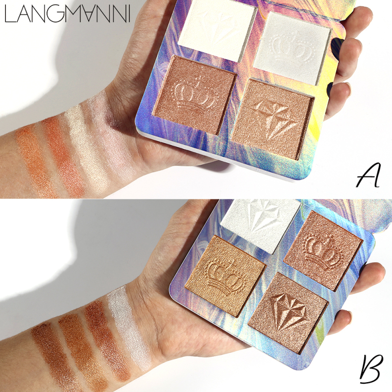 4 Colors Highlighter Powder Palette Shimmer Face Contouring Highlight Facial Bronzer Repair Makeup Brighten Skin Cosmetic TSLM2