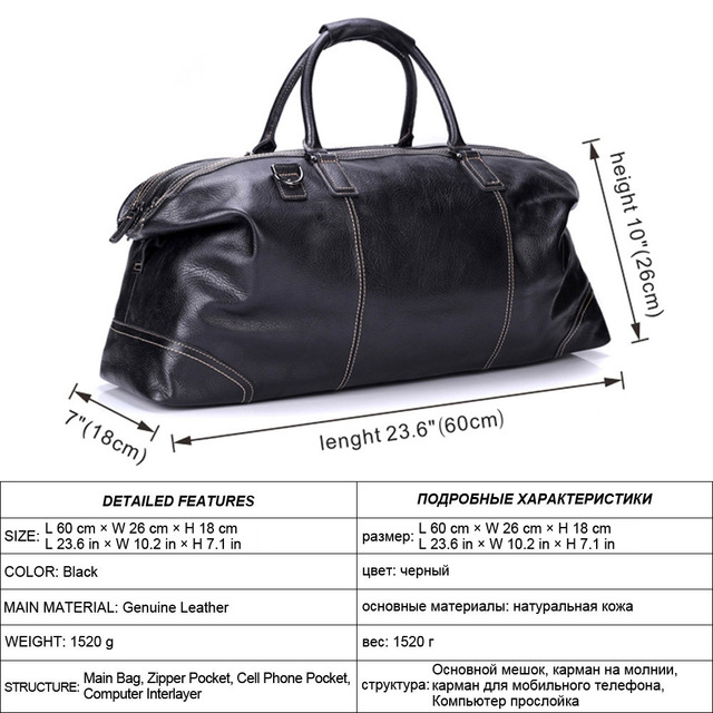MISFITS genuine leather men large travel bags england style tote travel duffle business handbag overnight luggage shoulder bags 3