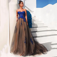 Eightree Long Evening Dresses Lace Appliques Tulle Strapless Party Gown Robe De Soiree Formal Evening Dress Plus Size Prom Dress