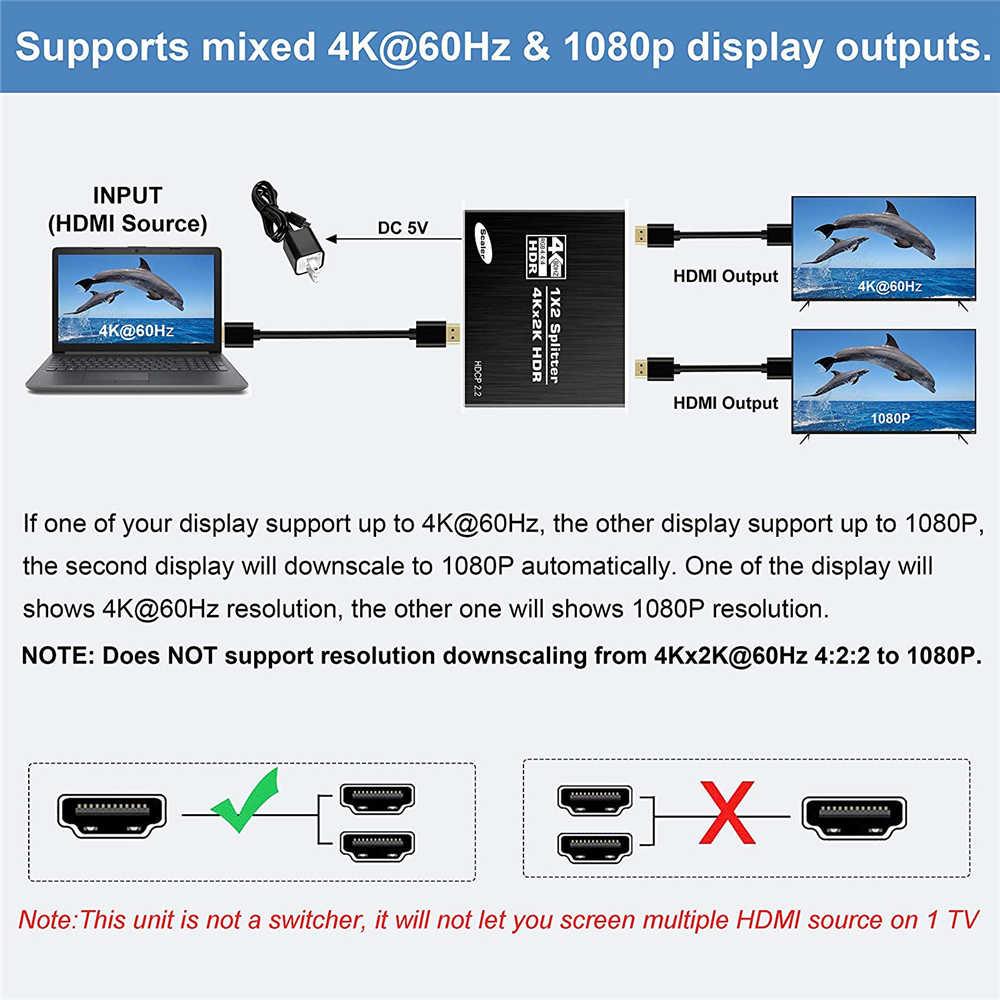 2020 melhor divisor 4k hdmi 1x2 hdmi 2.0 divisor 1 em 2 para fora hdmi amplificador interruptor hdr hdmi2.0 divisor para apple tv xbox caixa de tv