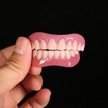 1 Pair Laugh Veneers Teeth Denture Teeth Whiten Fake Tooths Cover Comfort Fit Upper and Lower Cosmetic Teeth Denture Kit