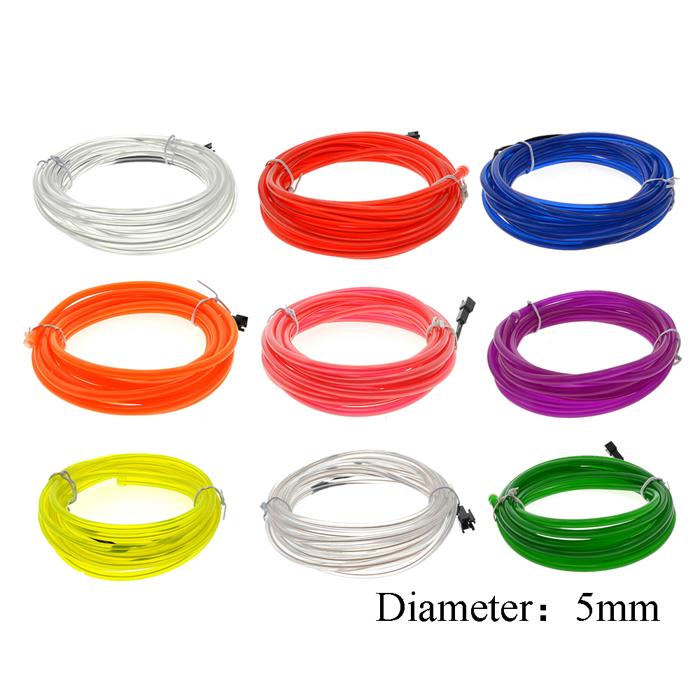 EL Wire Neon Light Dance Party Decor Car Lights Neon LED  Flexible EL Wire 5mm  Rope Tube Waterproof Neon Strip 1/2/3/5/10M