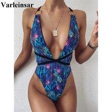 New Sexy Deep V Wrap Around Monokini Women Swimwear One Piece Swimsuit Female Blue Snake Skin Bather Bathing Suit Swim V2186
