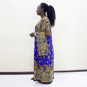Image 3 - Dashikiage Da Báo 100% Cotton Châu Phi Dashiki Xanh Tay Ngắn Xanh Dương Váy Đầm Cho Nữ